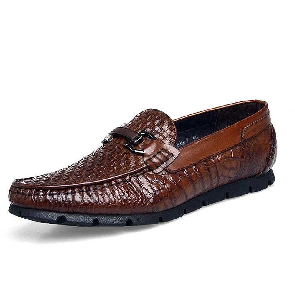 MYI Herren Erbsen Schuhe Leder handgewebte Freizeitschuhe High-End-Britische Schuhe