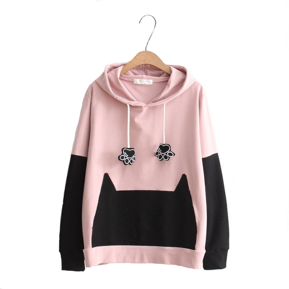 Cat_paw_hoodie_pink Aza Boutique Women's Cute Button Down Tweed Cat Ears Hoodie