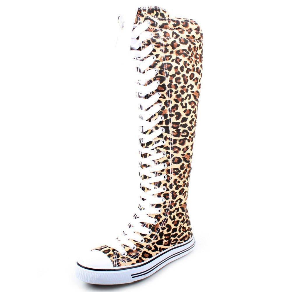 New Fasion Women Canvas Sneakers Punk flat Skatter Knee High Lace up Shoes (7;5, Graffiti) B00NPNCNDG 7 B(M) US|Fus/Leopard