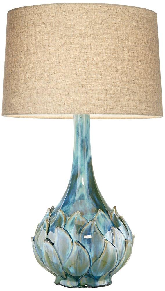Possini Euro Kenya Blue Green Ceramic Table Lamp