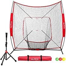 McHom 7' x 7' Baseball & Softball Bundle for Hitting & Pitching Practice with Tee, 3 Weighted Balls, Strike Zone & Carry Bag, Collapsible and Portable