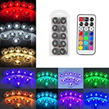 Submersible LED Lights 10 PCS Flameless Electric Tea Lights, Big Desert Remote Control Color Changing(13 colors)Candle Lights, Decorate Mini Waterproof Lights for Aquarium, Floral, Fish Tank, Wedding, Valentine's Day-Battery Included