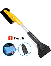 MIGICSHOW Ice Scraper for Cars, Windscreen Scraper Ice Snow Brush 2 in 1 Scrape Pesky Frost And Ice From Windscreens With Ease, A 4CM Microfibre Demist Pad Sponge for Free