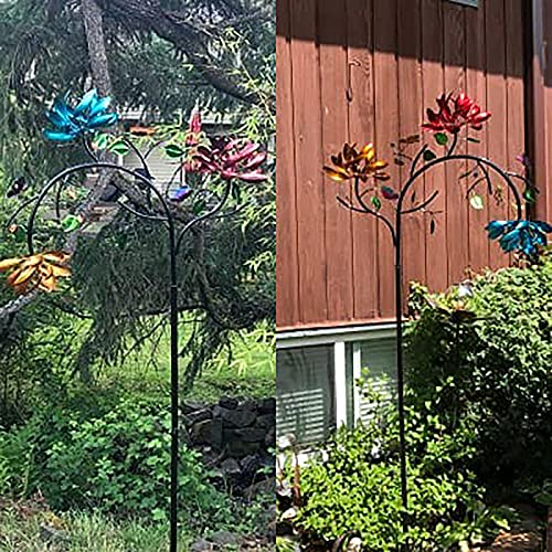 Three Spin Flower and Butterfly Windmills, Large Metal Spin Windmills, Used for Outdoor Courtyard and Garden Art Decoration