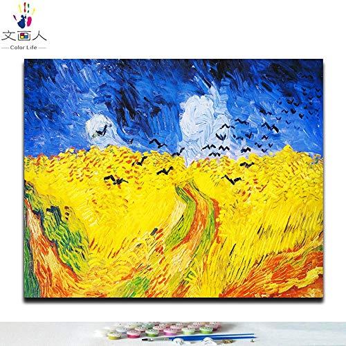 KYKDY Diy Malen nach Zahlen Vincent Van Goghs Gemälden The Starry Night  abstrakte Impression-Kunstbilder nach Zahlen mit Rahmen, 5514 erschossen sich selbst, 100x80 kein Rahmen 100x80 no frame 6343 Wheat field