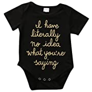 BiggerStore Funny Newborn Baby Boys Girls Golden Letter Printed Summer Black Romper Bodysuit Outfit (0-3 Months)