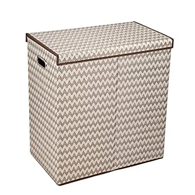 Household Essentials Double Hamper Laundry Sorter with Magnetic Lid Closure, Single, Chevron