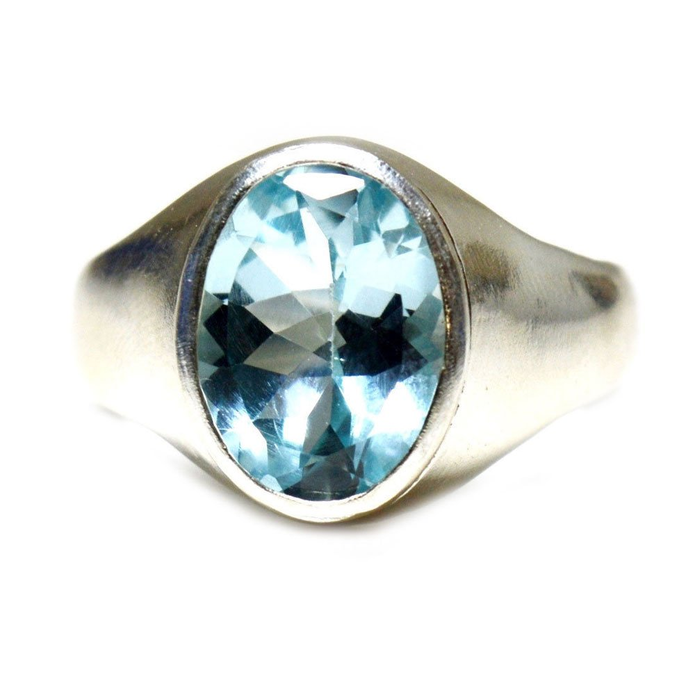55Carat Natural 3 Carat Blue Topaz Silver Ring for Men Women US Size 4,5,6,7,8,9,10,11,12,13 Bold Design
