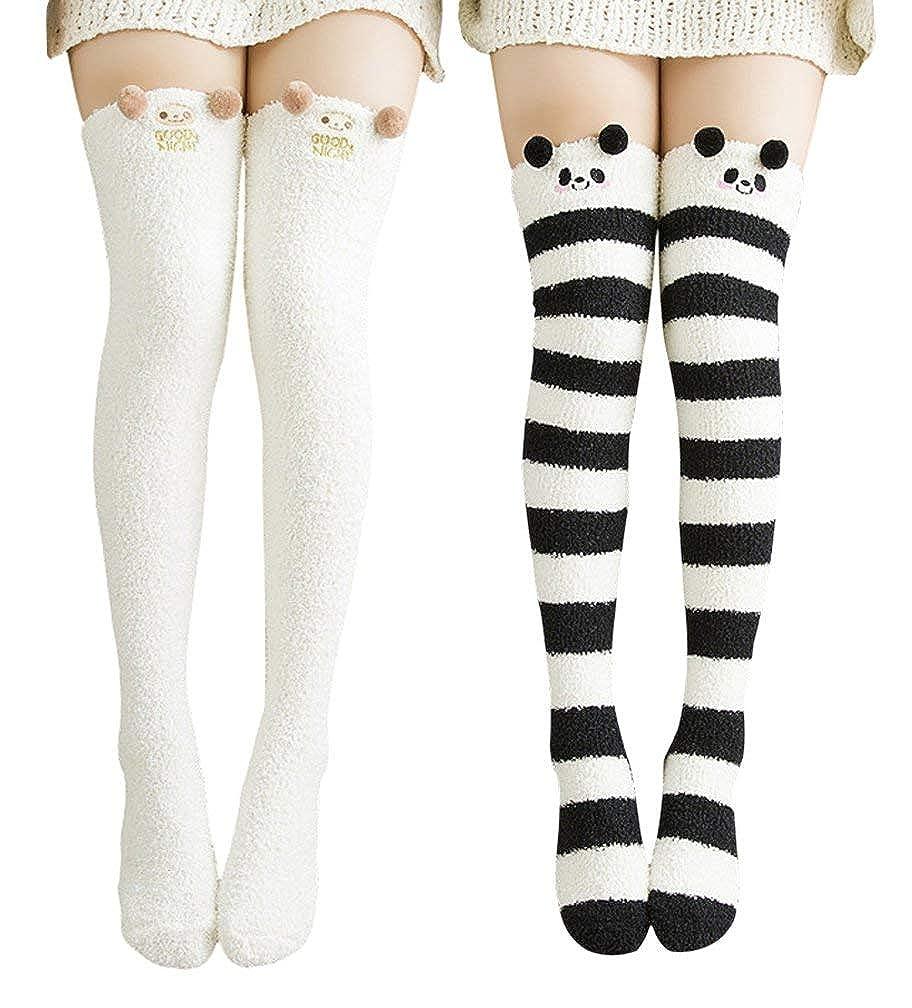 Black White Wander G Womens Over Knee High Fuzzy Socks Cute Cartoon Thigh High Stockings Warm Stripe Leg Warmers
