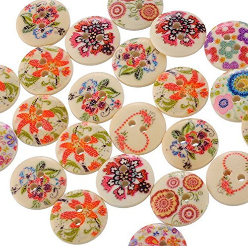100PCS Kanggest Mixed Random Flower Painting Round 2 Holes Wood Wooden Buttons for Sewing Crafting – The Super Cheap