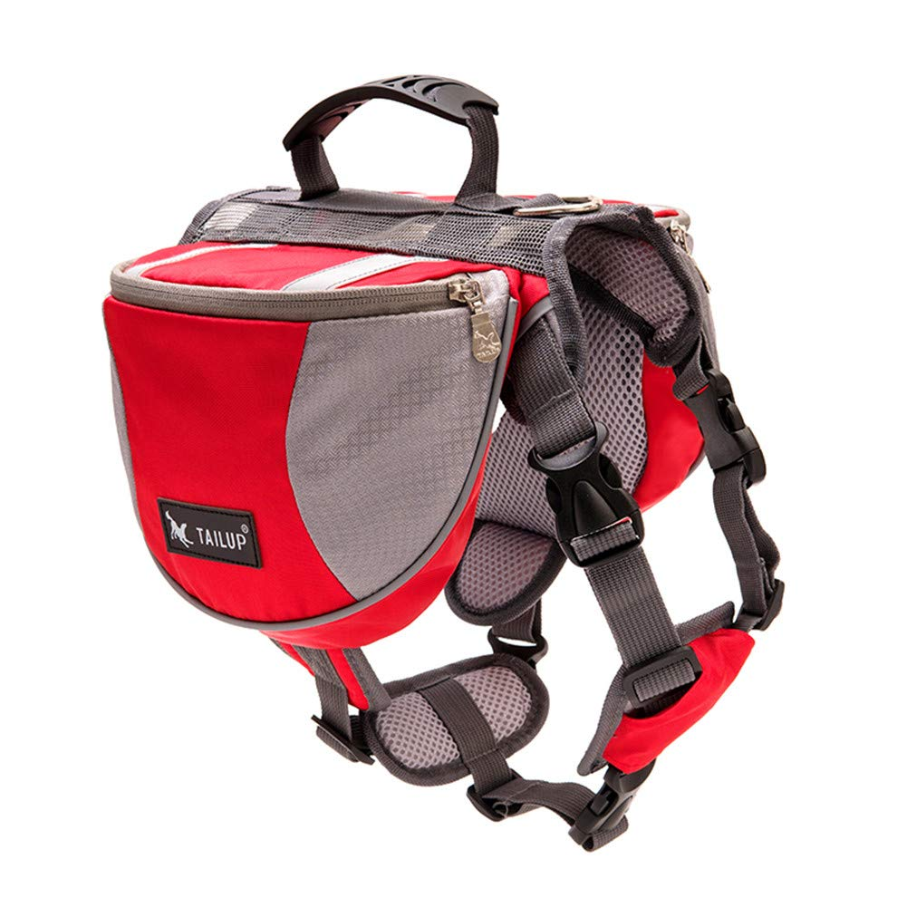 Red Small Red Small Dog Backpack Hound Saddle Bag Travel Packs for Hiking Walking Camping for Medium & Large Dog