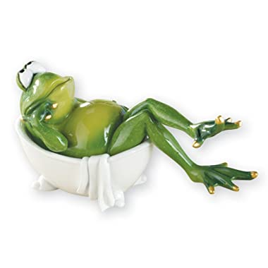 Collections Etc Lounging Bathroom Frog Hand-Painted Novelty Figurine Decor, Bathtub