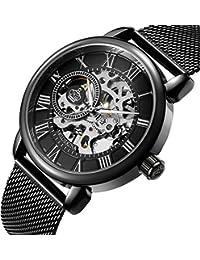 Wristwatch Men's Royal Classic Roman Index Hand-wind Mechanical Watch Black-black