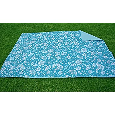 Multi-purpose Foldable Mat, Beach Mat, Crawl Mat, Picnic Mat, Yoga Mat (Blue, 5FTX6.5FT) with Easy Carry and Machine Washable