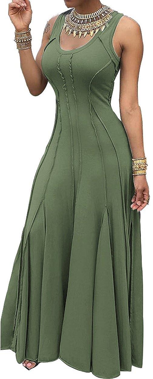 Green leyay Womens Sexy Long Evening Party Dress Ladies Vestidos High Waist Sleeveless Maxi Dresses