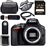 Nikon D5600 DSLR Camera (Body Only) (Black) 1575 + Sony 128GB SDXC Card + Mini HDMI Cable + Carrying Case + Universal Wireless Remote Shutter Release + Memory Card Wallet + Card Reader Bundle