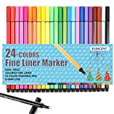 RUMCENT COLOR Pole 24 Pcs Fineliner Markers Pen,Fine Point Tip Coloring Markers,Great For Marker Adult Coloring Book (24 Pcs-AR-01)