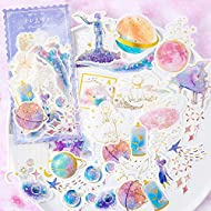 CHengQiSM The Little Prince Sticker Planet and Fox Golden Blue Stickers Set (60PCS) Decorative Sticker Decoration for Scrapbooking, Calendars, Arts,DIY Crafts, Album,Bullet Journal,Letter Sticker