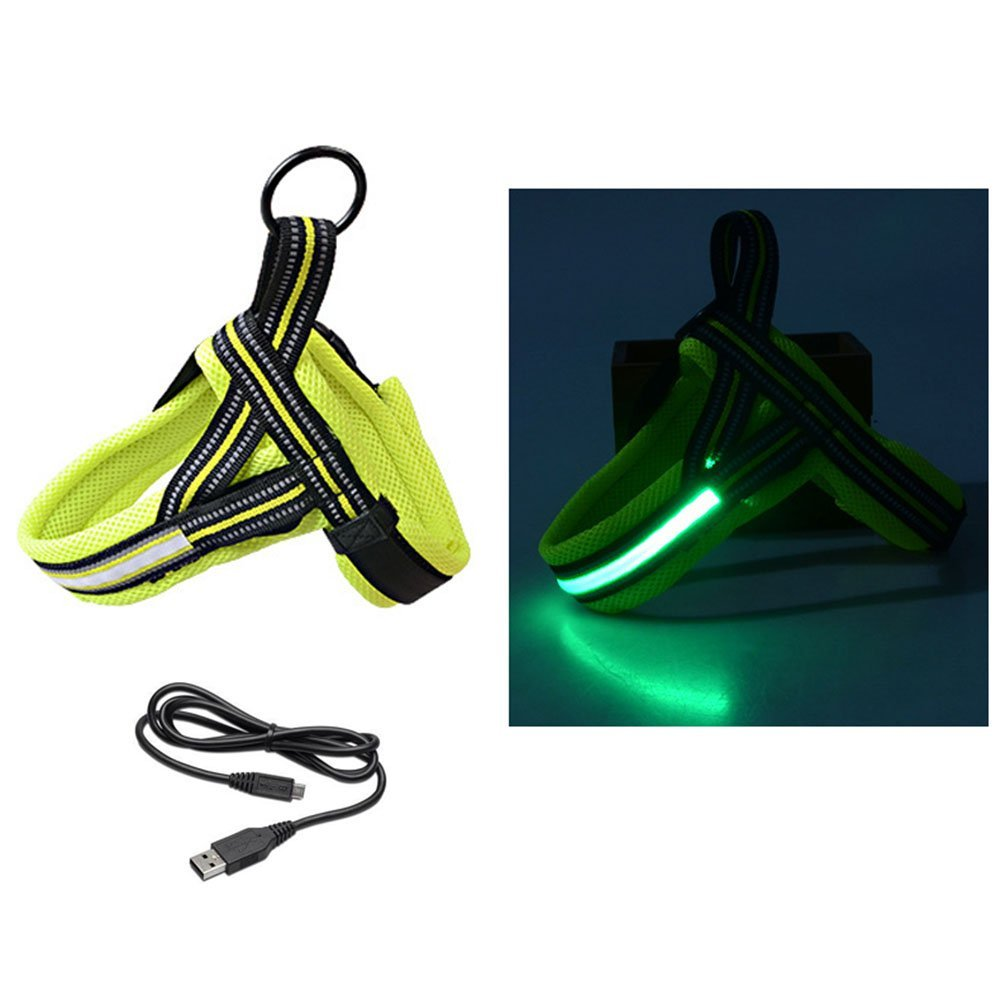 Green RICO Lighting Reflective Dog Harness LED Safety Light for Dogs (USB Rechargeable, Adjustable, Lightweight, Rainproof) (Green)