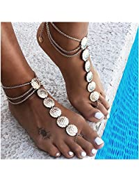 Summer Boho Vintage Gold Plated Coin Blessing Symbol Tassel Anklets Swimming Foot Jewelry for Women