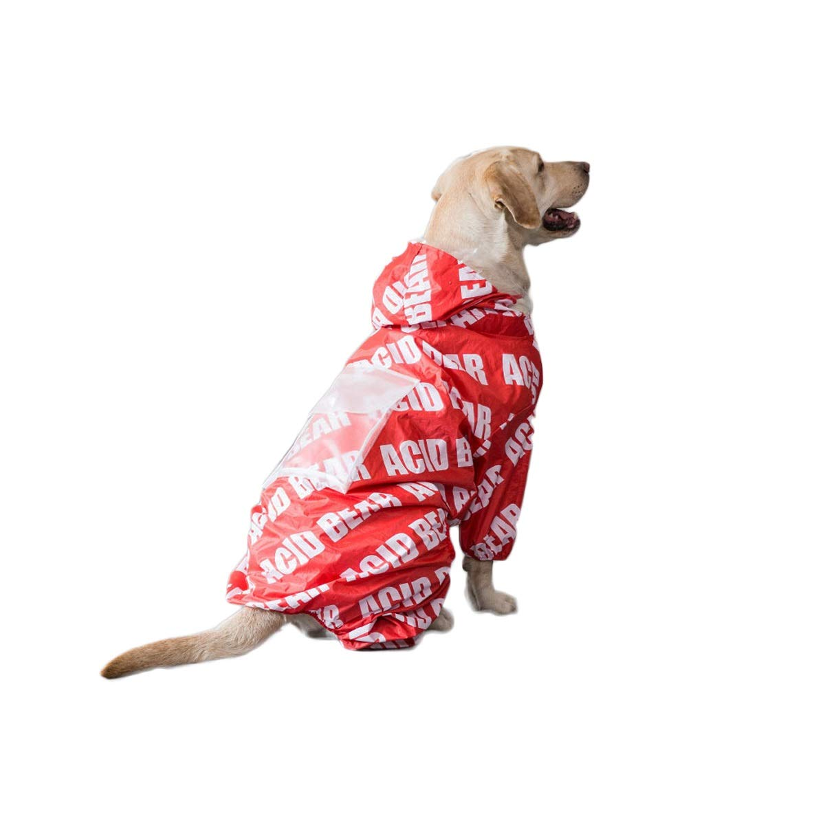 Red M Red M Qingbaotong Dog Raincoat Dog Clothes Waterproof Four-Legged Large Dog Labrador golden Retriever Pet Supplies Black Red S M L XL XXL High Strength Waterproof (color   Red, Size   M)