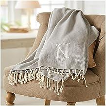 Mud Pie 4264313K Herringbone Initial K Throw Blanket with Fringe