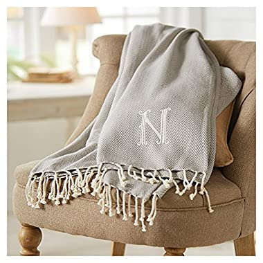 Mud Pie Herringbone Initial Throw Blanket (G)