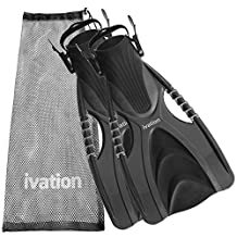 Diving Fins Swim Fins Adjustable Speed Fins, Super-soft, High Grade Material, for Diving Snorkeling Swimming & Watersports. With Mesh Bag Ivation