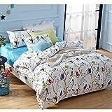 Wolala Home Cartoon Birds Home Textile 4pcs Bed Sets Cute Girls Bedding Set Simple Fashion Flower Print Duvet Cover Bedding Set (Full)