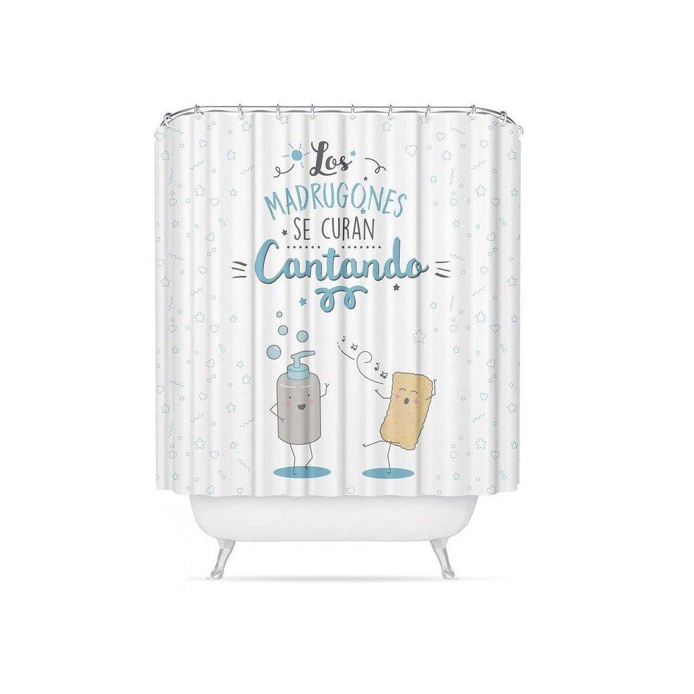 Dcasa - Cortina de baño original poliester diseño mensaje