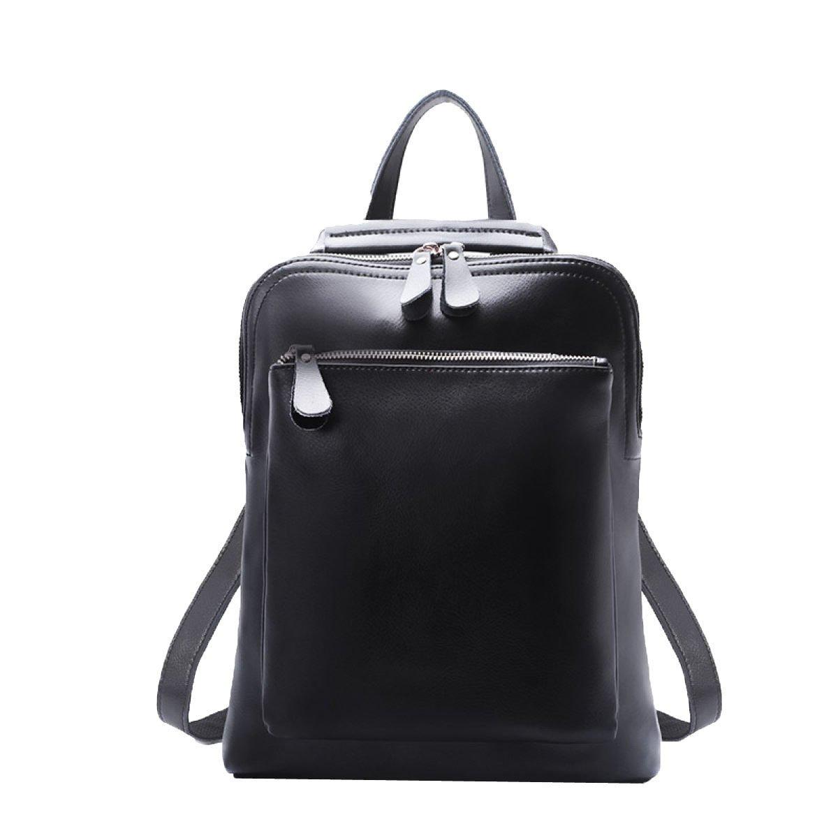 Black Medium Shoulder Bag Rucksack PU Leather Women Girls Ladies Backpack Travel Bag