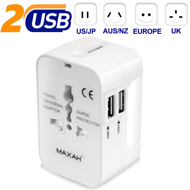 MAXAH Adaptador Universal Enchufe de Viaje Cargador Internacional con 2 USB para US EU UK AU