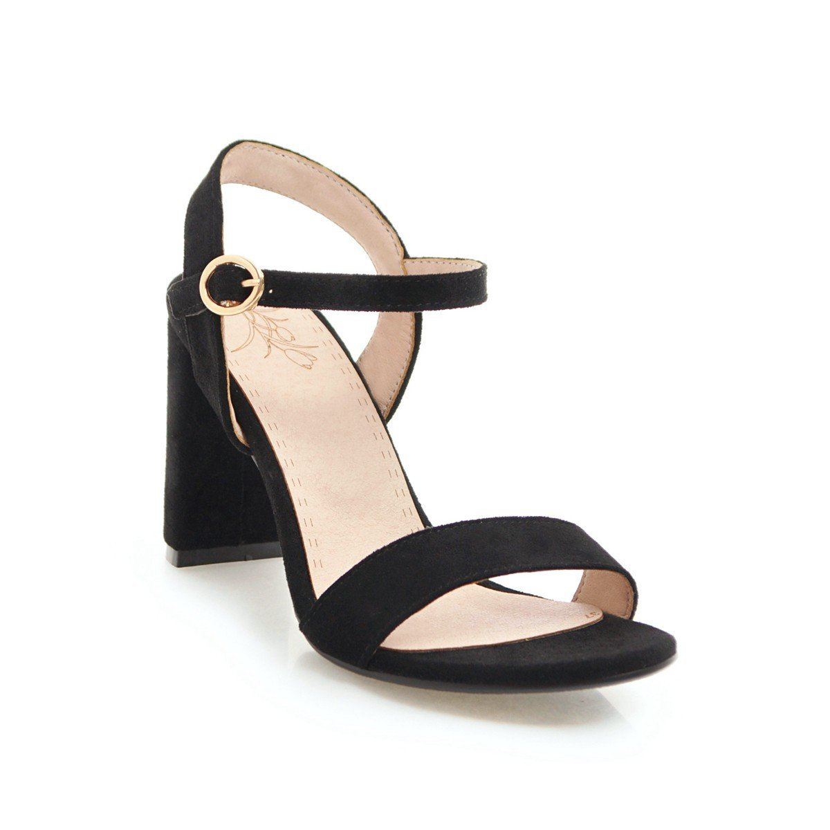 Unbekannt Damen Sandalen Open Toe Toe Toe Dick mit Schnalle Wilde Große Römische Schuhe Schwarz 39 d3d0fa