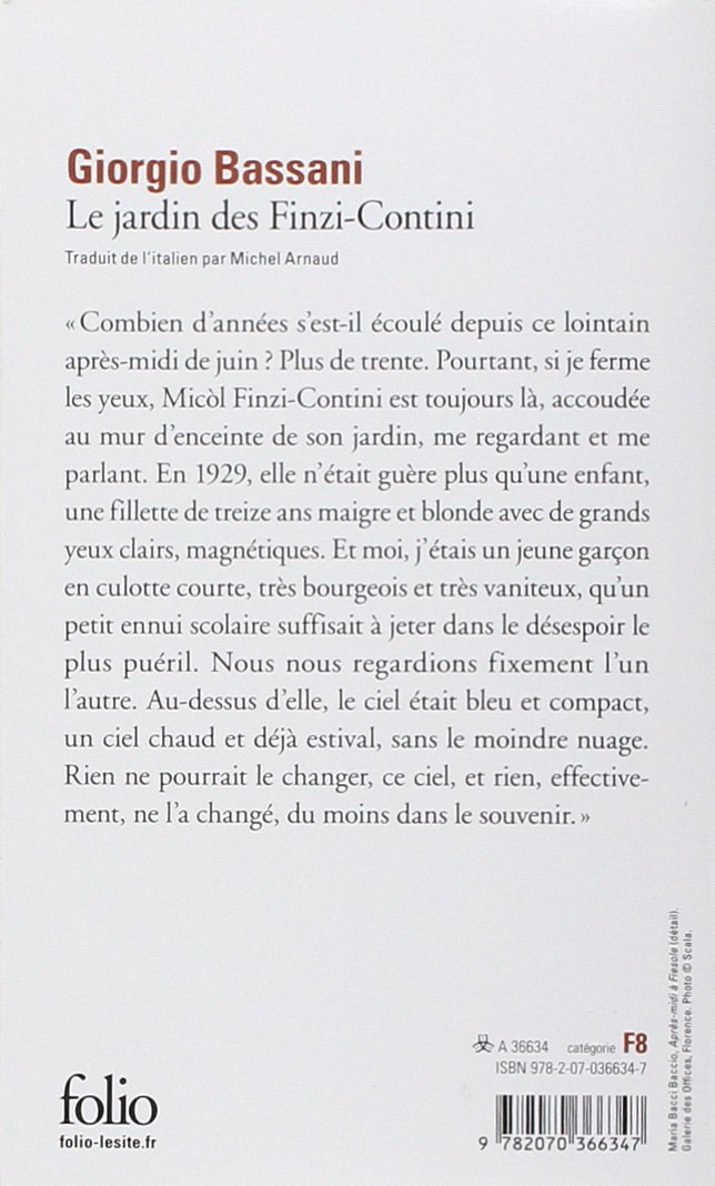 Le jardin des Finzi-Contini (Folio): Amazon.es: Bassani,Giorgio, Arnaud,Michel: Libros en idiomas extranjeros