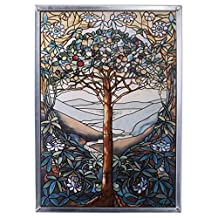 Stained Glass Panel - The Tree of Life Stained Glass Window Hangings - Art Glass Window Treatments