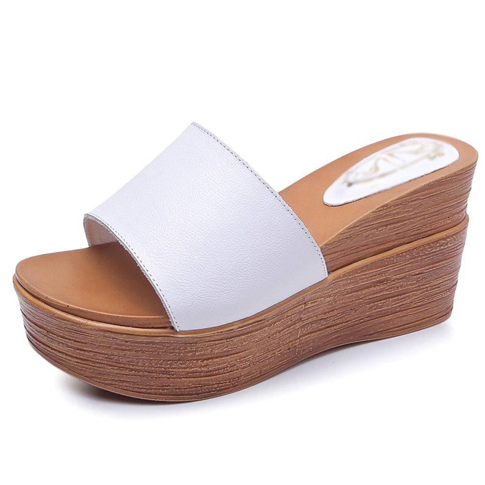 PENGFEI Pantofola Zapatillas Verano Hembra Fondo Grueso Cuña Retro Playa, Altura del Talón 8.5CM, 2 Colores (Color : Blanco, Tamaño : EU37/UK5/US6.5/235) EU37/UK5/US6.5/235|Blanco