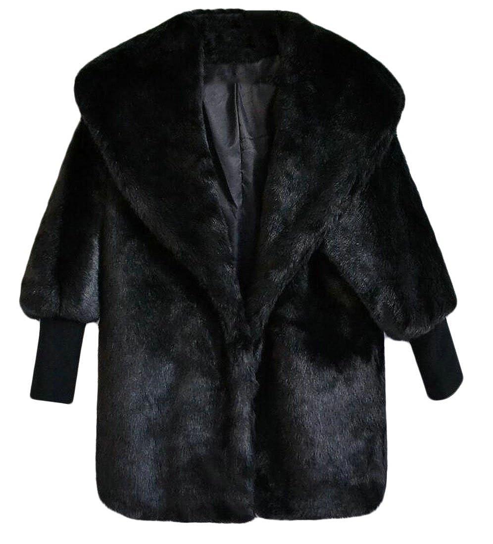 1 GAGA Women Fashion Casual Slim Fit Faux Fur Coat Jacket