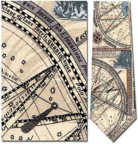 Men's 100% Silk Beige Nautical Map C. 1742 Necktie Tie Neckwear