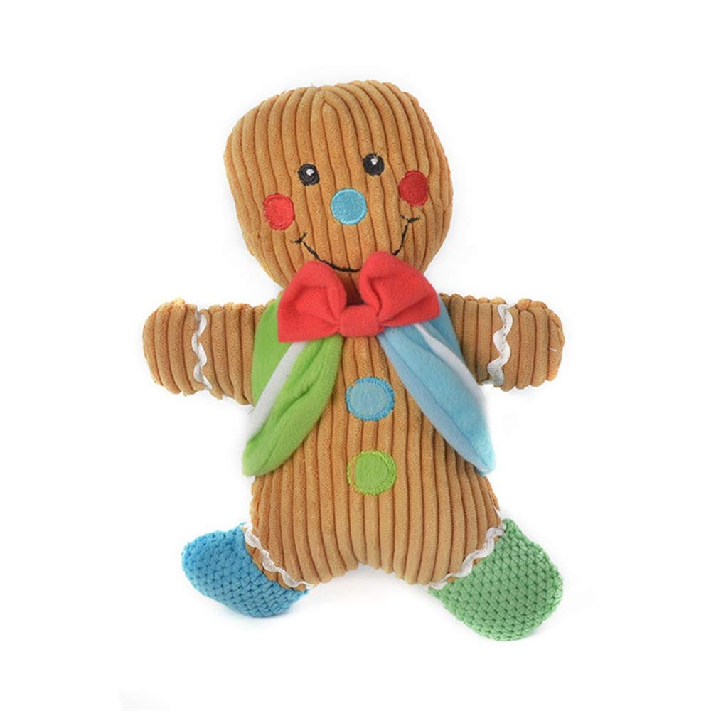 Cute Dog Vocal Toy, Cartoon Gingerbread Man Design, Plush Dog Toy, Safe and Non-Toxic, Full of Filling, Built-in Generator, to Prevent Damage to Furniture, accompanying Pets, Toys 10.2 inches high