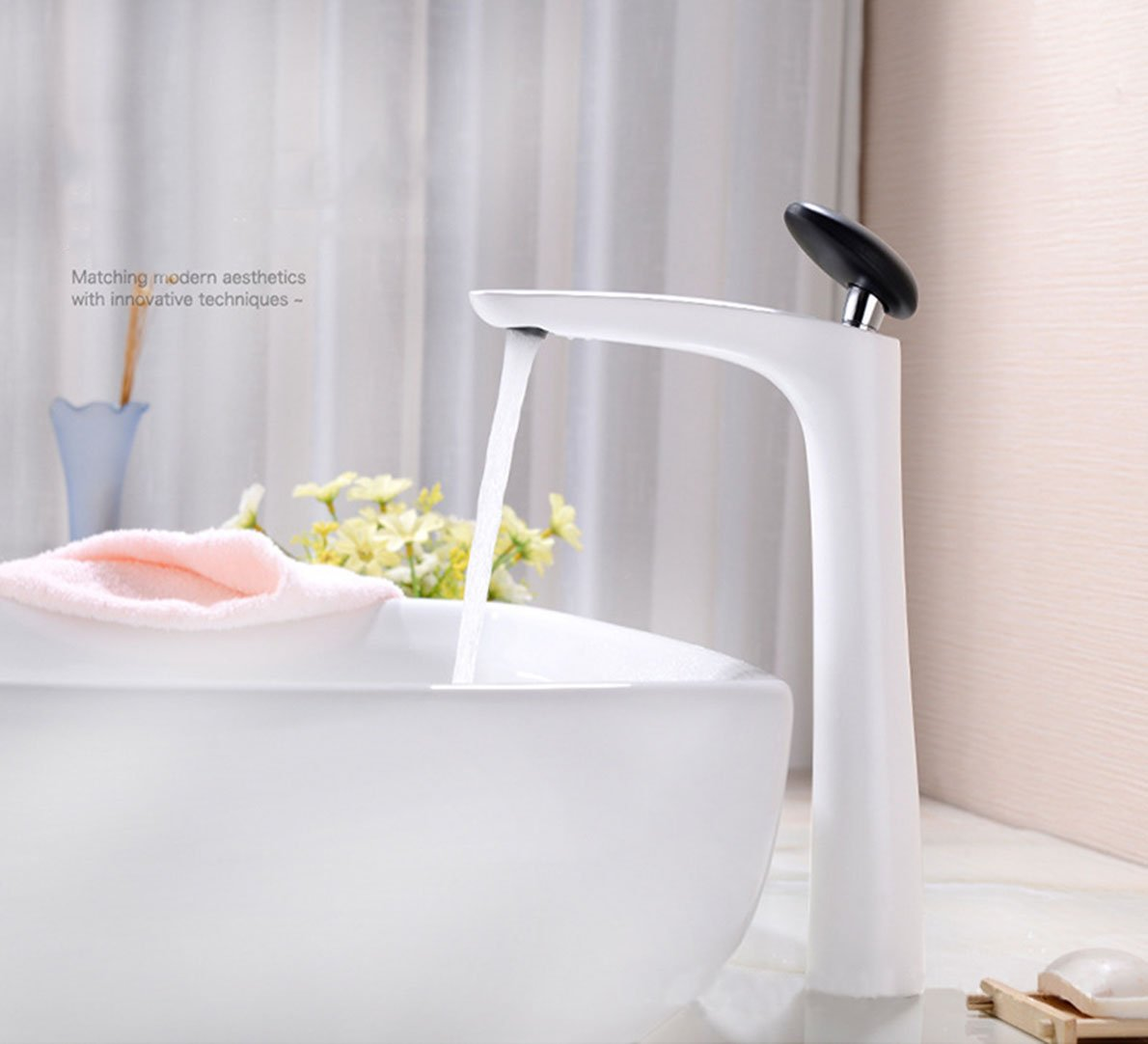 White high QJIAXING Modern Copper Porcelain Lavatory Faucet Bathroom Sink Mixing White Taps,White,Short