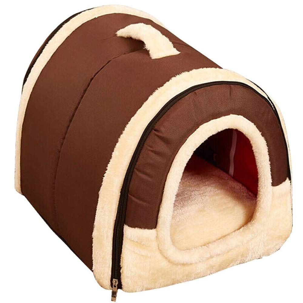 Brown Alppq Kennel Cat Nest Warm Thickening Teddy Kennel Medium Dog Small Dog Pet Dog Mat Cat Large Washable Comfortable Dog Sofa Dog House Plush Pet Bed Luxury Fur Dog Bed Cushion Comfort Pet Bed