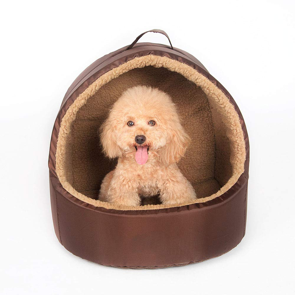 BrownM MiaoMiao Luxury High-End Dog Cat Bed Pet Cave & House Kennel Yurt Oxford Cashmere Pet Bed With Removable Soft Cotton Cushion,Brownm