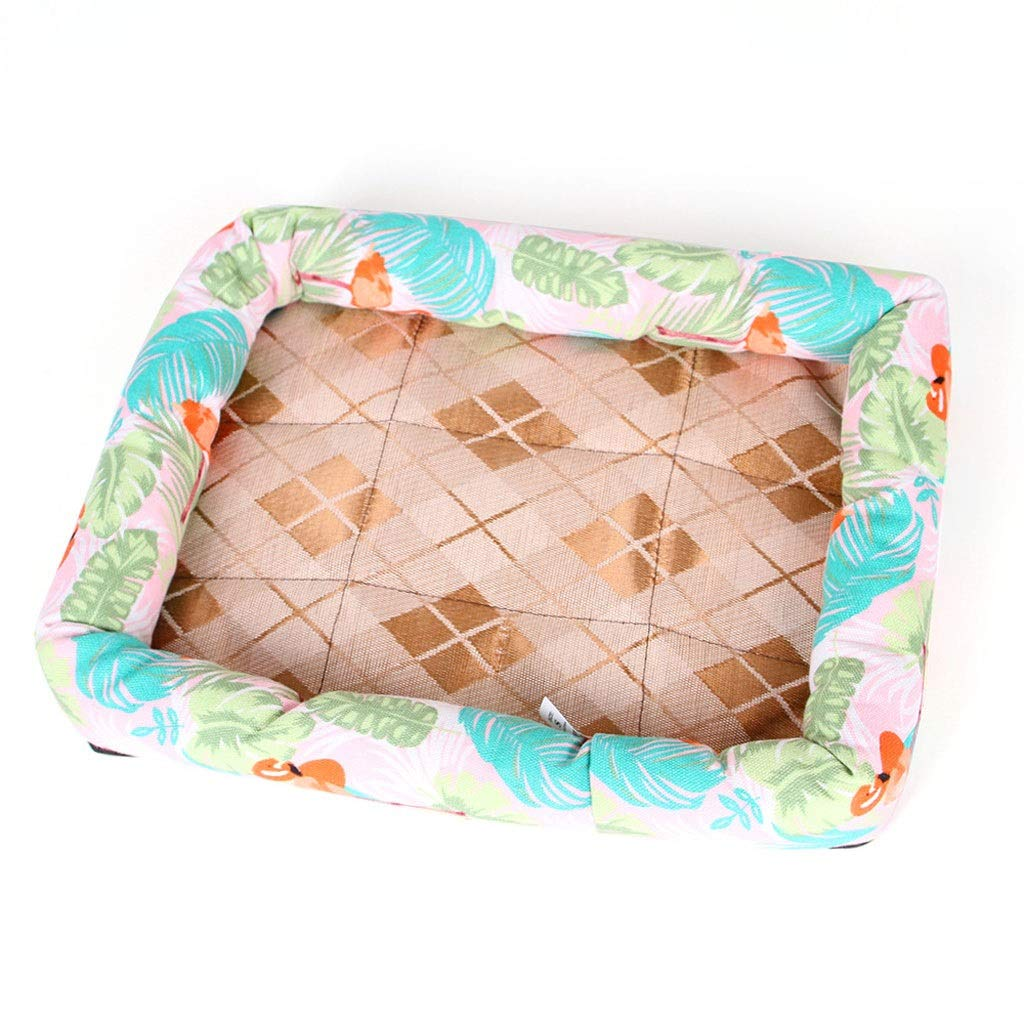 Burst Large Burst Large Dog Bed Cat Bed 10 colors Strawberry Cat Litter Dog Supplies Nest Pad Ice Silk Teddy Summer Mat Kennel Pet Bed (color   Burst, Size   L)