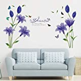 Supzone Lily Flowers Wall Sticker Purple Floral Wall Decal Colorful Butterfly Wall Decor I Love You Quotes and Sayings Wall A