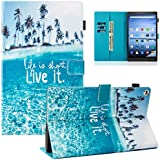 Dteck Case for All-New Amazon Fire HD 10 Tablet (7th Generation, 2017 Release) - Slim Fit PU Leather Folio Stand Smart Cover with Auto Wake/Sleep for Fire HD 10.1 inch, Beach