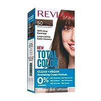 Revlon Total Color Permanent Hair Color, Clean and Vegan, 100% Gray Coverage Hair...