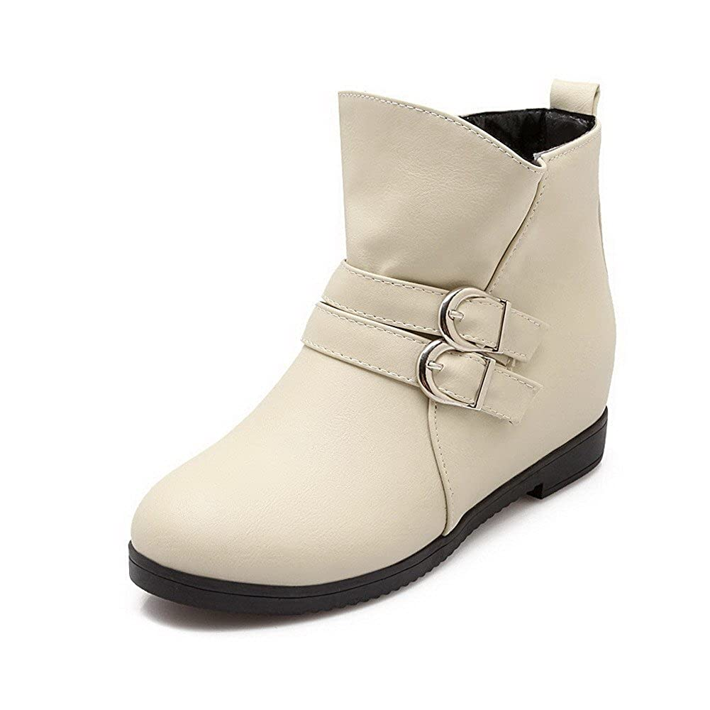 AmoonyFashion AmoonyFashion AmoonyFashion Women's Low-Heels Soft Material Low-Top Solid Pull-On Boots B01N0TBQYY Boots 39f875