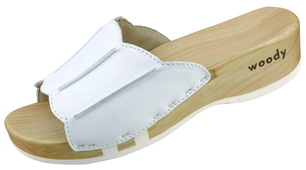 Woody Anna 303/21 - Zuecos de cuero para mujer 43 EU|Blanco