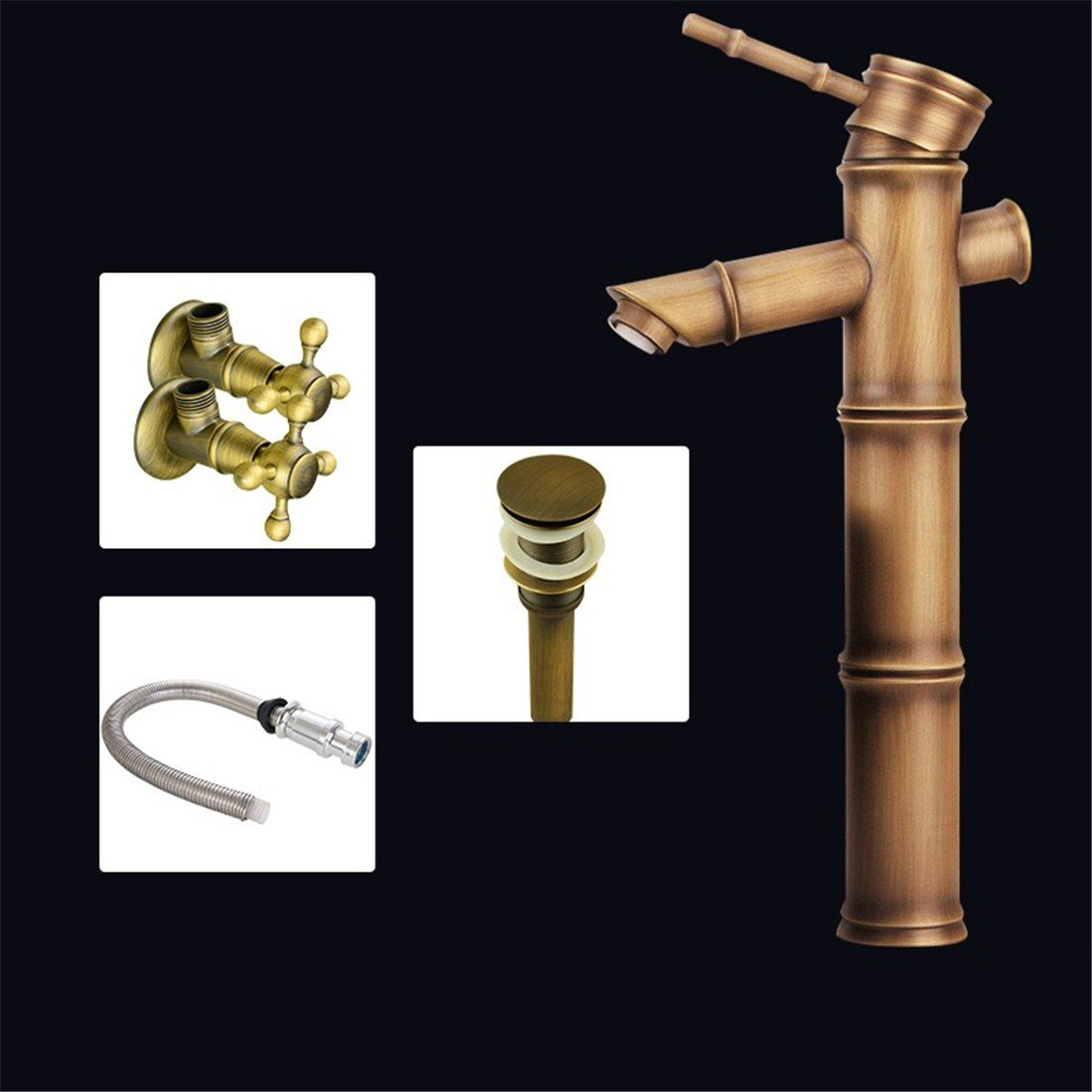 Fbict  European Antique Copper high Bamboo Section Above Counter Basin Faucet Bamboo Faucet hot and Cold Water, Basin Hardware Necessary for Kitchen Bathroom Faucet Bid Tap