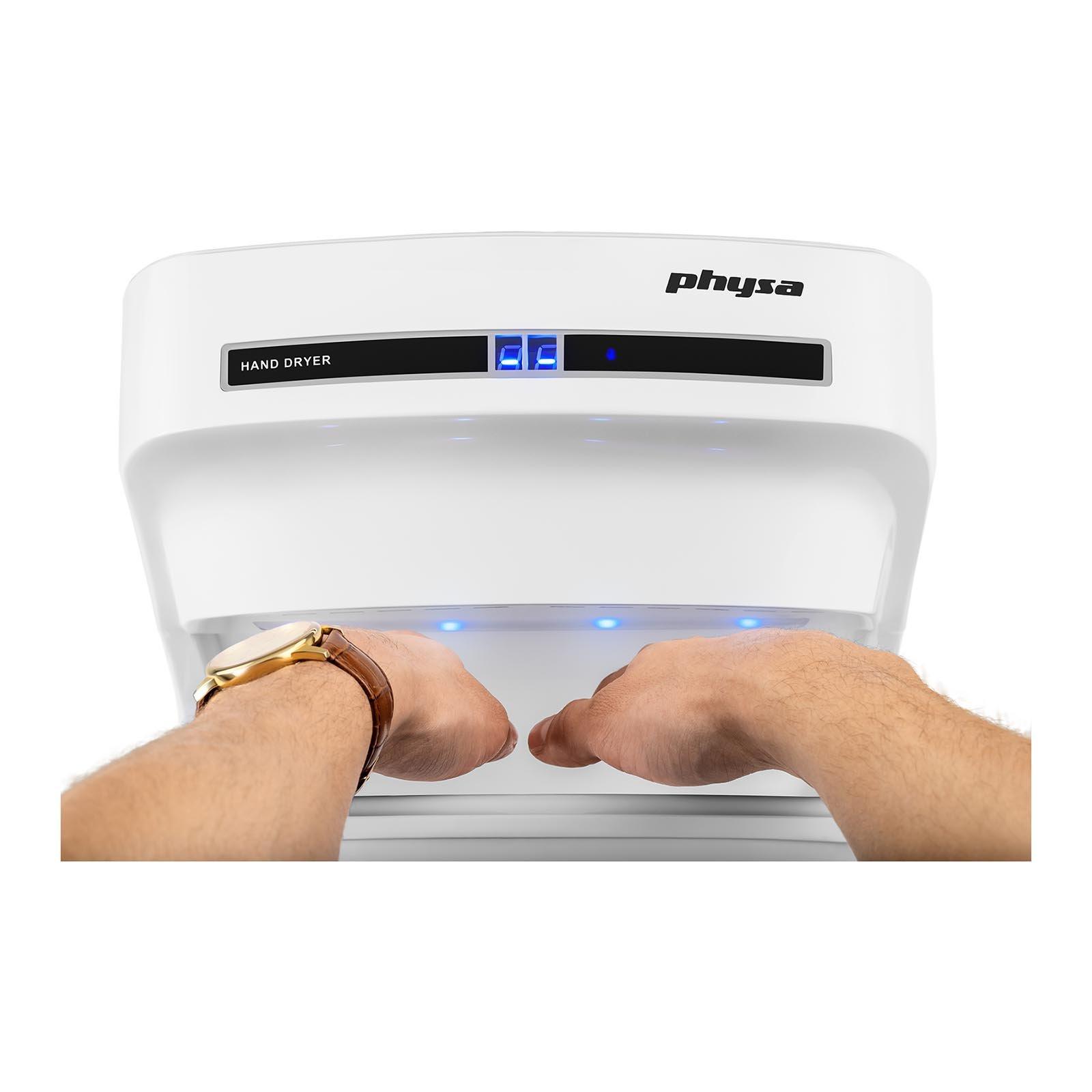 1200 W, temperatura m/áxima del aire de 70 /°C, velocidad del aire: 14 m//s Physa PURUS Secador de pelo de pared eco